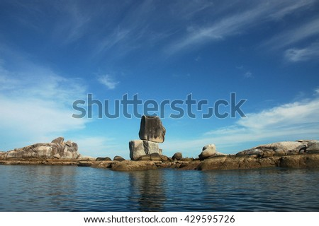 Stacked big stone made by nature, Koh Hin Son, Satun, Thailand