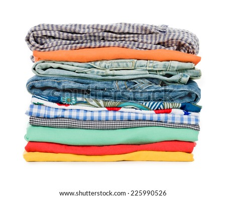 Stacked clothes - stock photo