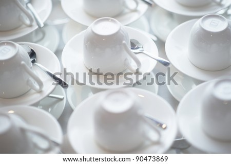 Stacked coffee and tea cups - stock photo