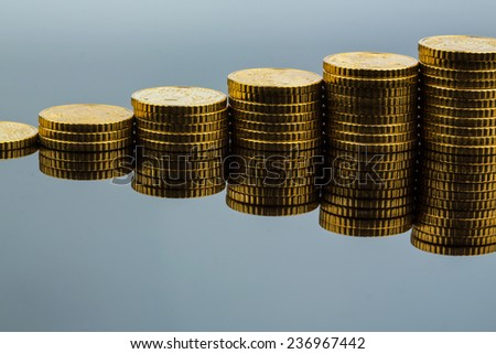stacked coins ascending series, symbolic photo for financial planning, increasing yield and good rate of return - stock photo
