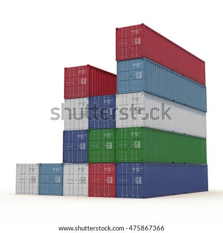 Stacked color cargo containers over white 3D Illustration