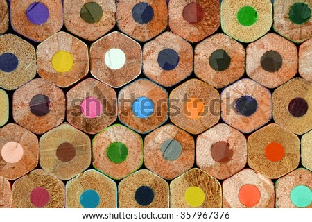 Stacked color pencils background macro. - stock photo