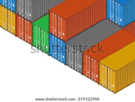 Stacked colorful metal freight shipping containers on white background. 3d illustration, isometric projection  - stock photo