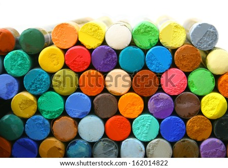 Stacked colorful pastels - stock photo