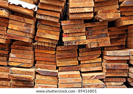 Stacked Construction Wood - stock photo