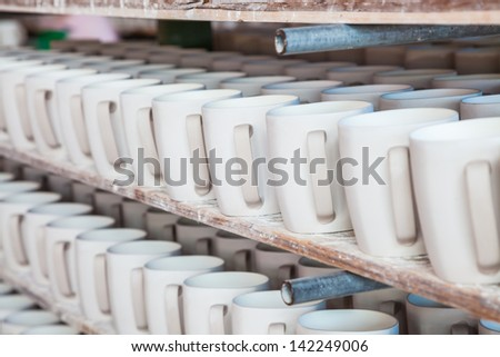 stacked cup in a factory