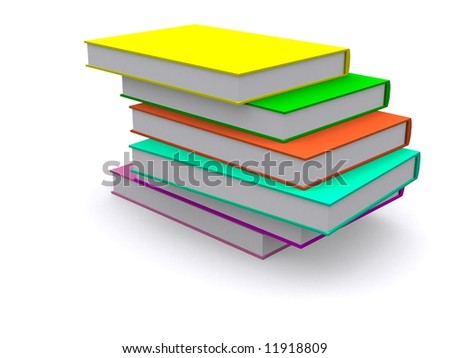 Stacked 3d books