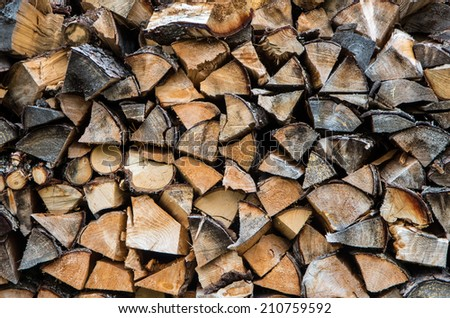 Stacked firewood texture