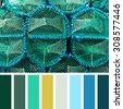 Stacked lobster pots in a colour palette with complimentary colour swatches. - stock photo