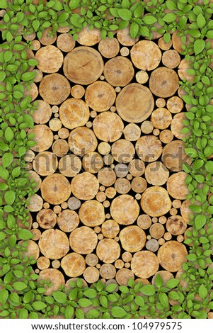 Stacked Logs Background with green plant frame