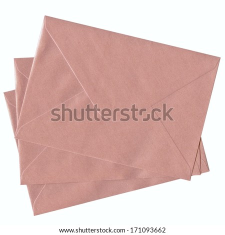 stacked pink mail isolated on white background   - stock photo