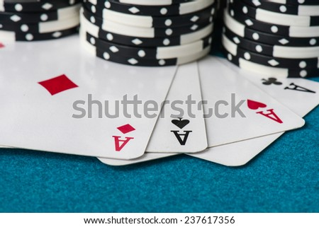 Stacked Poker Chips with Ace Card - stock photo