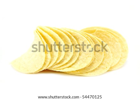 Stacked Potato Crisps isolated on a white background