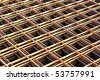Stacked rebar grids at the construction site - stock photo