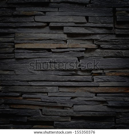 Stacked Slate Stone Wall square textured background - stock photo