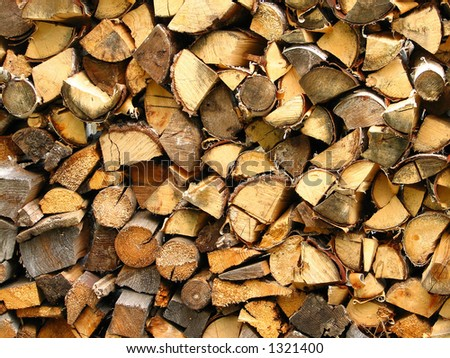 Stacked timber - stock photo