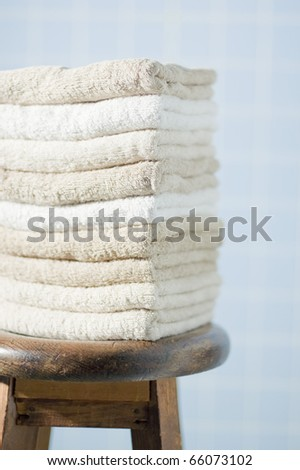 Stacked towels - stock photo