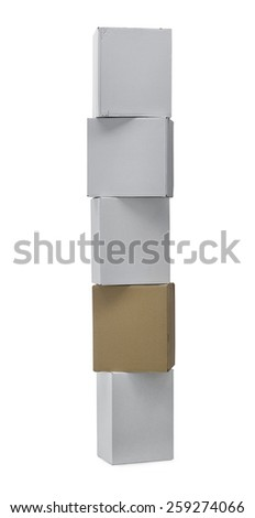Stacked up carton boxes with clipping path - stock photo