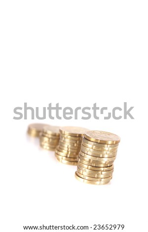 Stacked up coins. Isolated over white. Ideal Businesshot.