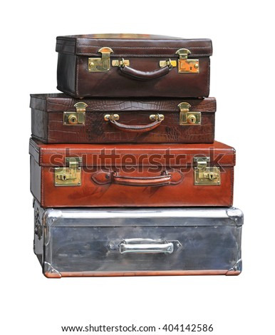 Stacked Vintage Suitcases Isolated Included Clipping Path