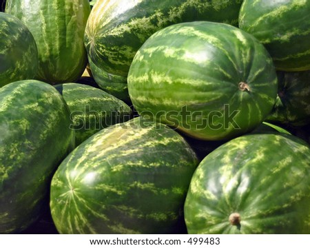 Stacked Watermelons at Farmers Market - stock photo