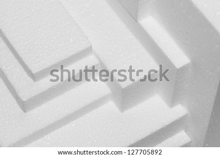 stacked white polystyrene sheets for damping - stock photo