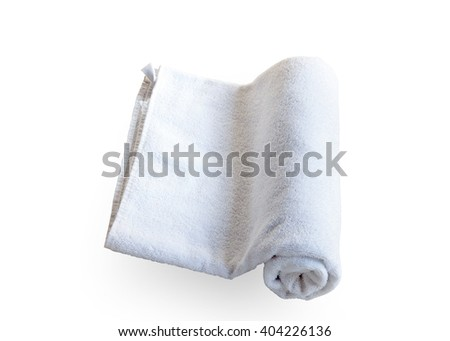 Stacked white spa cloth beach towels isolated on white background. This has clipping path. - stock photo