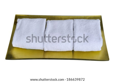 Stacked white spa towels. - stock photo