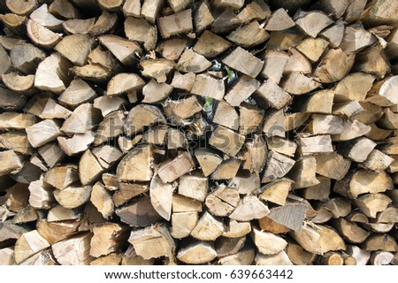 Stacked wood for heating background