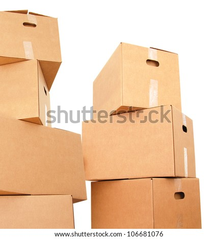 Stacking carton boxes - stock photo