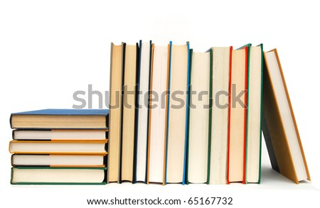 Stacking of freshmen books - stock photo