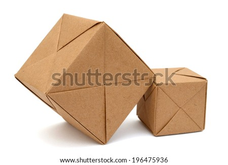 Stacking of origami paper cubes - stock photo