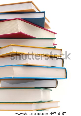 stacking textbooks on white background
