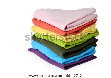 Stacks Clothes Colorful - stock photo