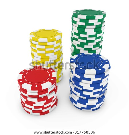 Stacks of Blank Bright Primary Coloured Casino Chips isolated on white