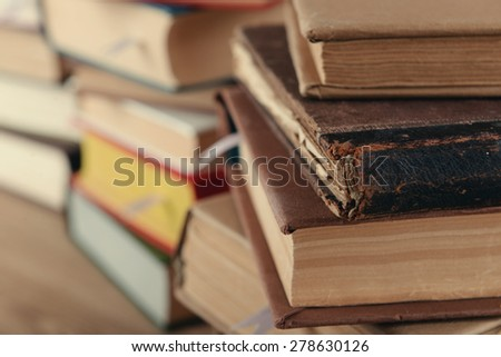 Stacks of books close up - stock photo