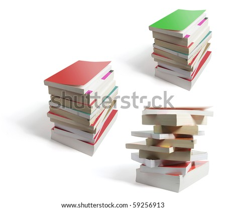 Stacks of Books on White Background
