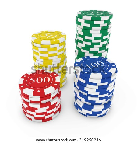 Stacks of Bright Primary Coloured Casino Chips isolated on white