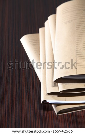 stacks of brown paper files - stock photo