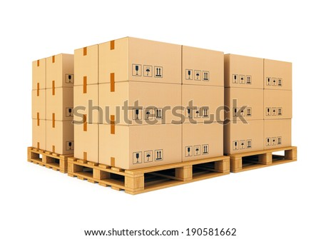 Stacks of cardboard boxes on wooden pallets isolated on white background. Warehouse, shipping, cargo and delivery concept. - stock photo