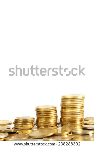 Stacks of coins on white background, Three stacks of coins on white background - stock photo