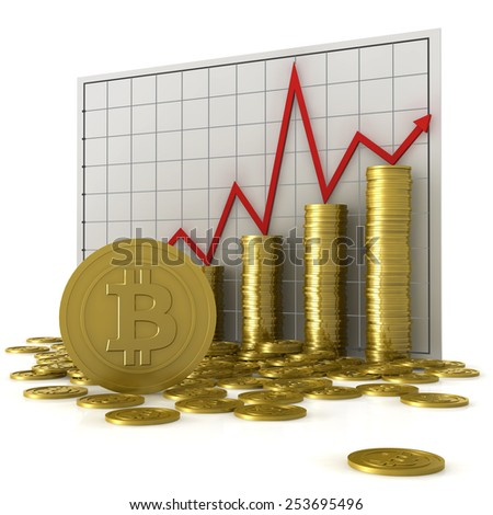 Stacks of coins with bitcoin symbol against a currency chart, isolated on white background - stock photo