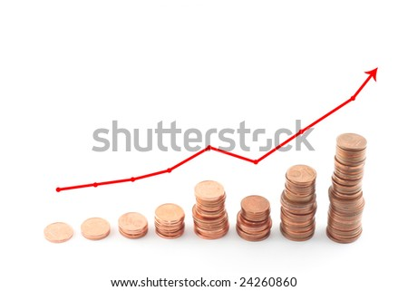 stacks of coins with diagram
