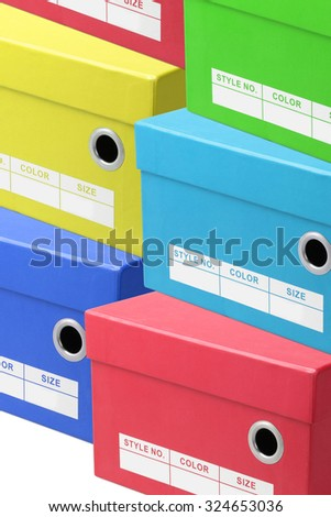 Stacks of Colorful Shoe Boxes - stock photo