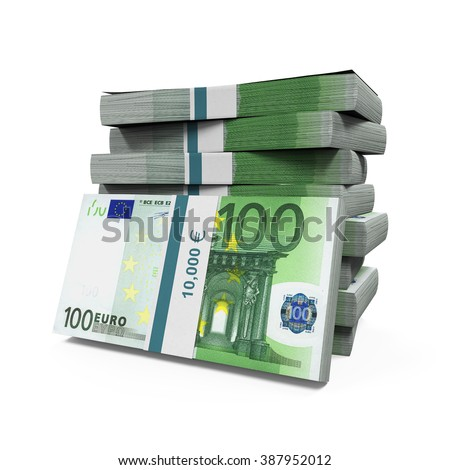 Stacks of 100 Euro Banknotes - stock photo