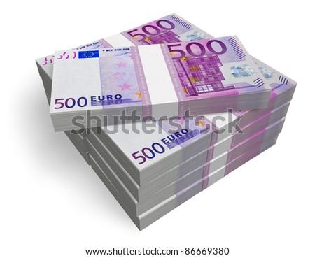 Stacks of 500 Euro banknotes isolated on white background - stock photo