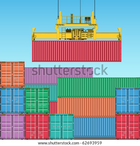 Stacks of Freight Containers at the Docks with Crane - stock photo