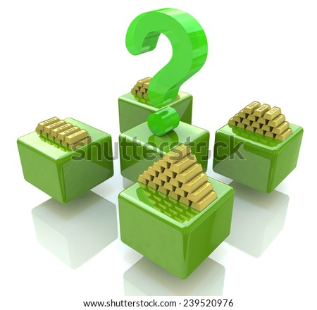 Stacks of gold bars and question mark - stock photo