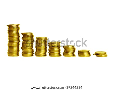 Stacks of gold coins in the form of the diagram, isolated over white background. Shallow DOF. - stock photo