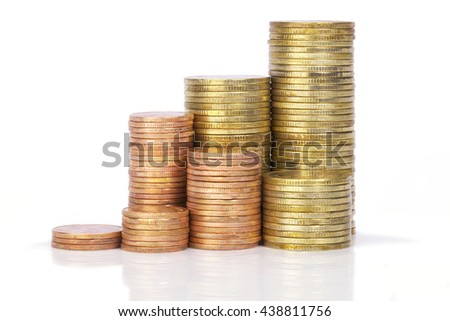 stacks of golden coins isolated on a white background. This has clipping path.
